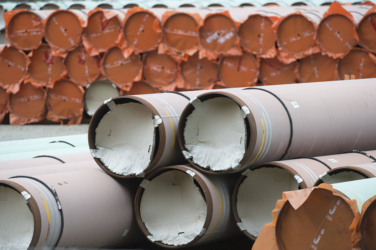 Pipes for the Trans Mountain pipeline project are seen at a storage facility near Hope, B.C., Tuesday, Sept. 1, 2020. THE CANADIAN PRESS/Jonathan Hayward