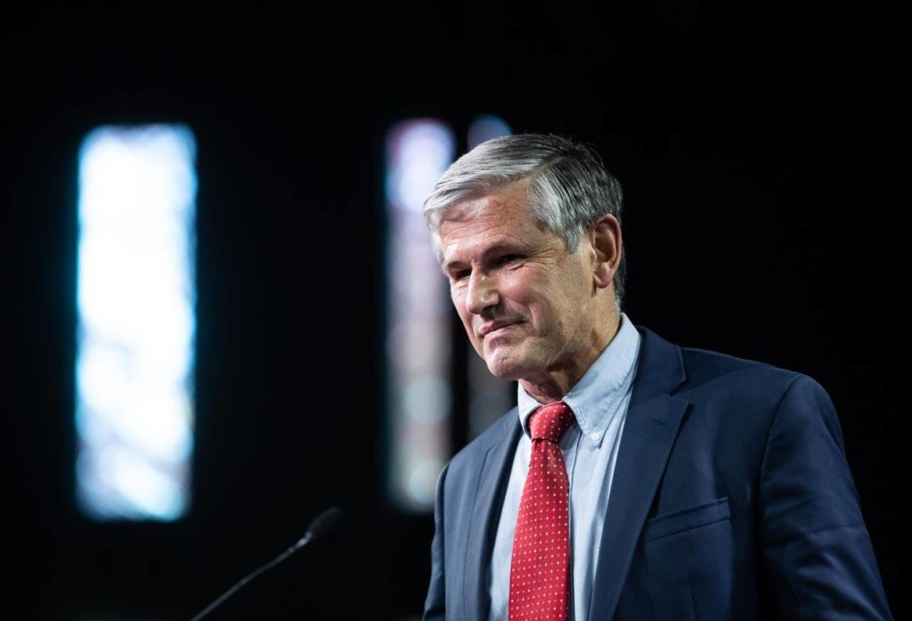 B.C. Liberal Leader Andrew Wilkinson leaves the stage after announcing he is stepping down as party leader, during a news conference in Burnaby, B.C., on Monday, October 26, 2020. THE CANADIAN PRESS/Darryl Dyck