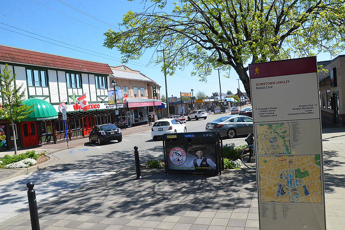 There have been fewer cars and fewer customers in Langley City's downtown due to the coronavirus pandemic, but a group is calling for the one-way to go car free for a time. (Matthew Claxton/Langley Advance Times)