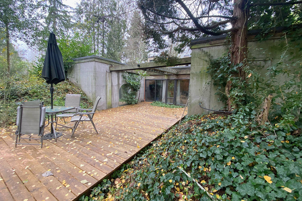The South Surrey 'Underground House' includes skylights and just one side 'window' – this glass door that leads out to a patio. (Contributed photo)