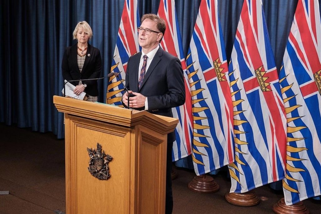 B.C. Health Minister Adrian Dix and provincial health officer Dr. Bonnie Henry update the COVID-19 situation at the B.C. legislature, Nov. 23, 2020. (B.C. government)