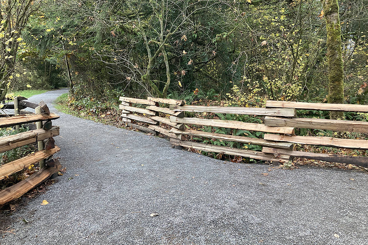 "Wout Brouwer expressed his gratitude to the Metro Vancouver regional parks department for keeping the Houston Trail in Fort Langley in such ""great shape."" They recently repaired a section of the trail that was ""seriously eroded"" and built what Brouwer calls a ""beautiful, rustic fence."" (Special to Langley Advance Times)"