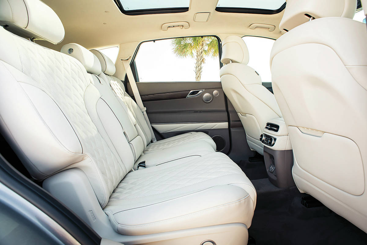The second-row seat has plenty of room, although things are much tighter for the two occupants of the optional third row. PHOTO: GENESIS