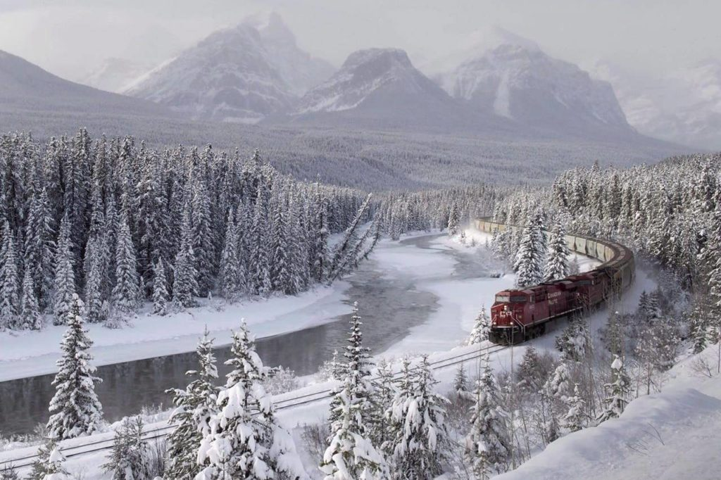 A Canadian Pacific freight train travels around Morant's Curve near Lake Louise, Alta., on Monday, Dec. 1, 2014. A study looking at 646 wildlife deaths along the railway tracks in Banff and Yoho national parks in Alberta and British Columbia has found that train speed is one of the biggest factors. THE CANADIAN PRESS/Frank Gunn