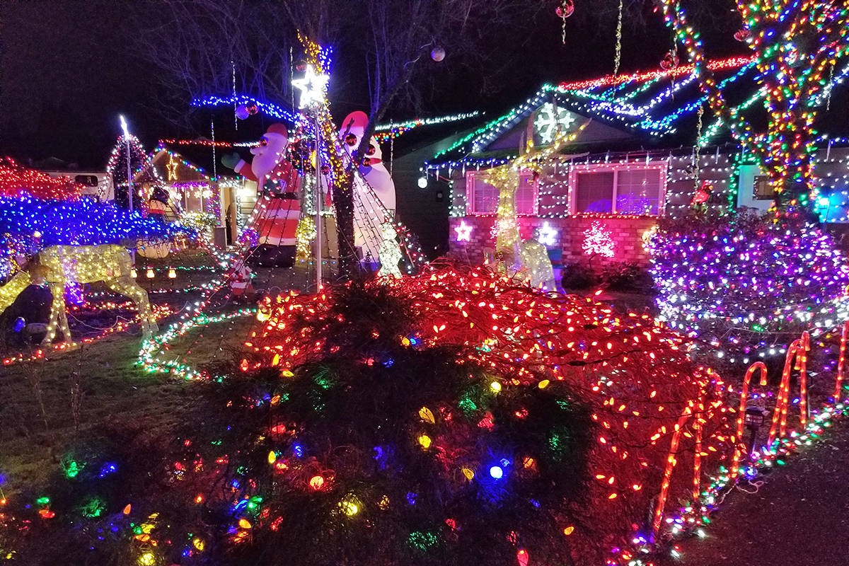 This is what thousands of Christmas lights looks like. Rob Baerg and Ken Sherwood launched their latest Christmas light display on their front lawns in the 20600 block of 44A Avenue on Sunday, Nov, 29, 2020 (Dan Ferguson/Langley Advance Times)