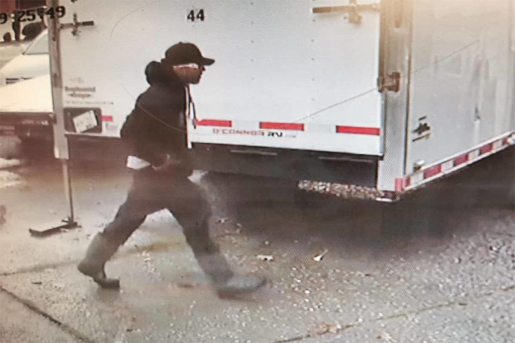 Still from a video surveillance camera of a man alleged to have stolen from several people at knife-point in Chilliwack (Rosedale) early on Nov. 28, 2020. (Facebook)