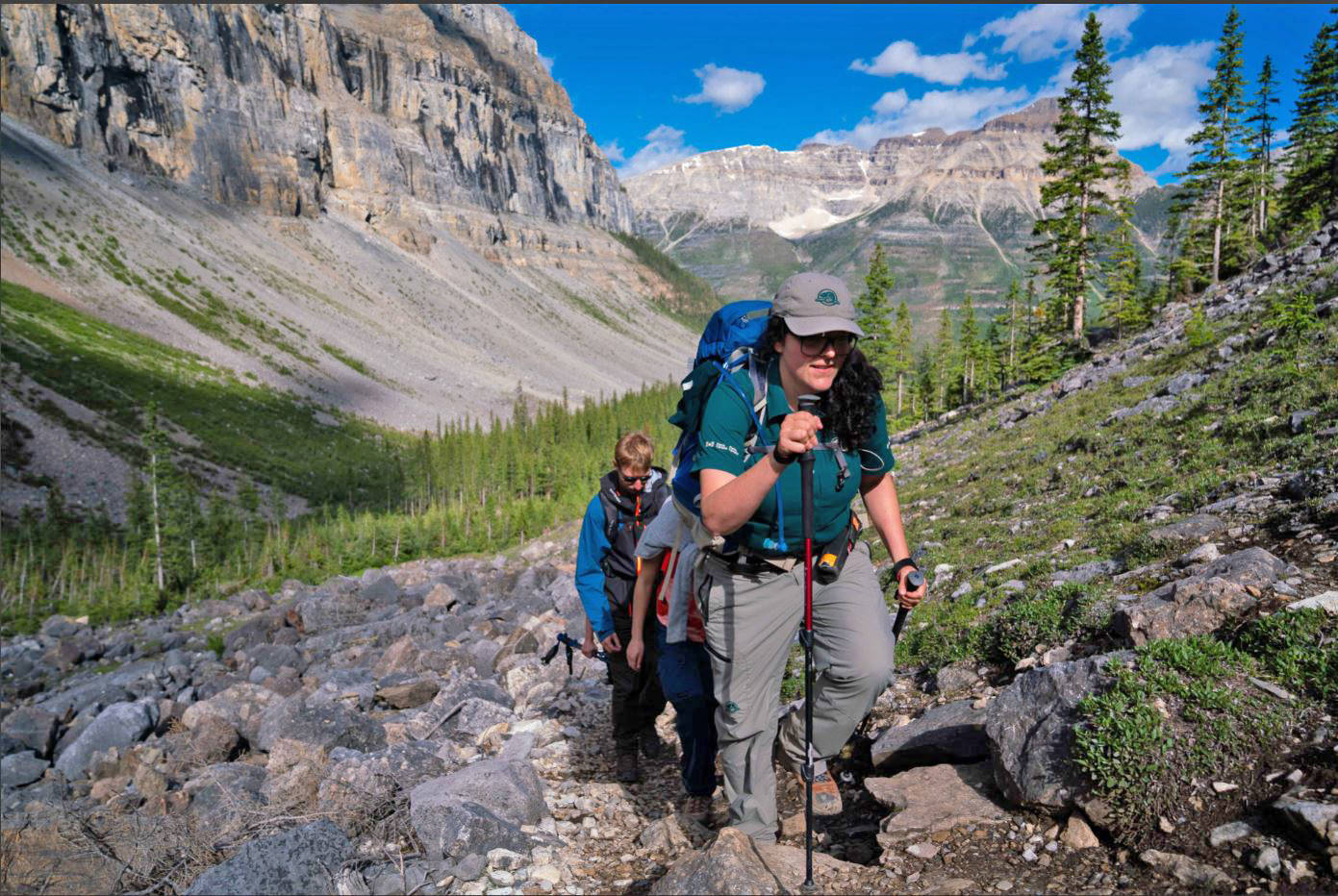 The trails to reach the fossils are steep, and often unstable. Hiking poles are required on the Mount Stephen hike, and recommended on all trails. Zoya Lynch/Parks Canada photo.