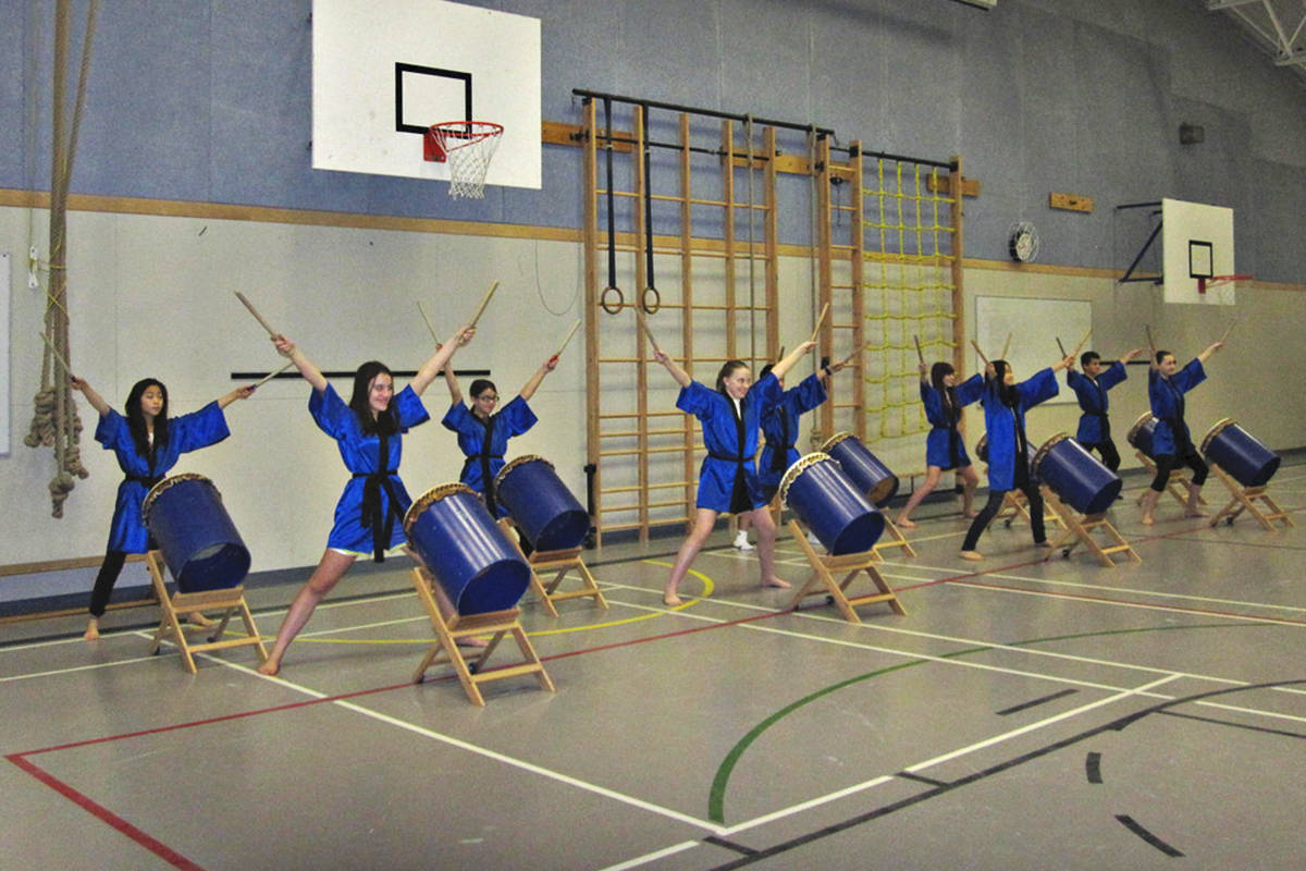 Teacher Kanata Soranaka started a taiko drumming club while at Topham Elementary. Based on its popularity, taiko drumming became part of the school's music education. The students performed at school functions as well as sports tournaments and community events. (Topham Tora Taiko photo)