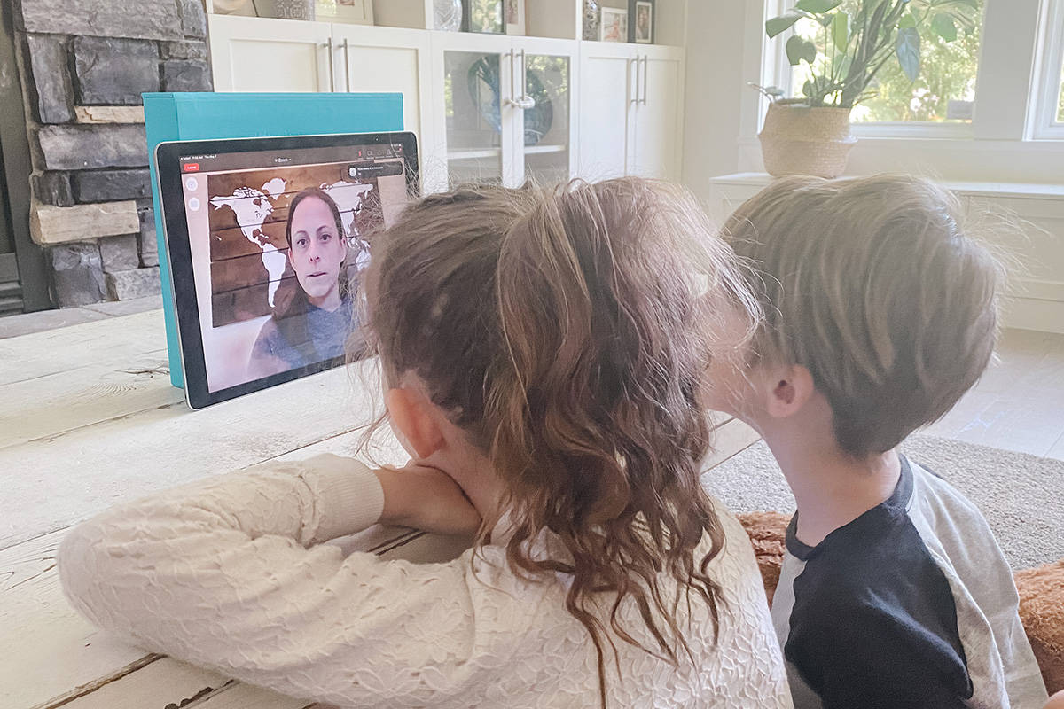 Legassie's niece and nephew Charlotte and Harrison Craig participating in a virtual field trip with her earlier this year. (Courtesy of Hayley Legassie/Special to the Langley Advance Times)
