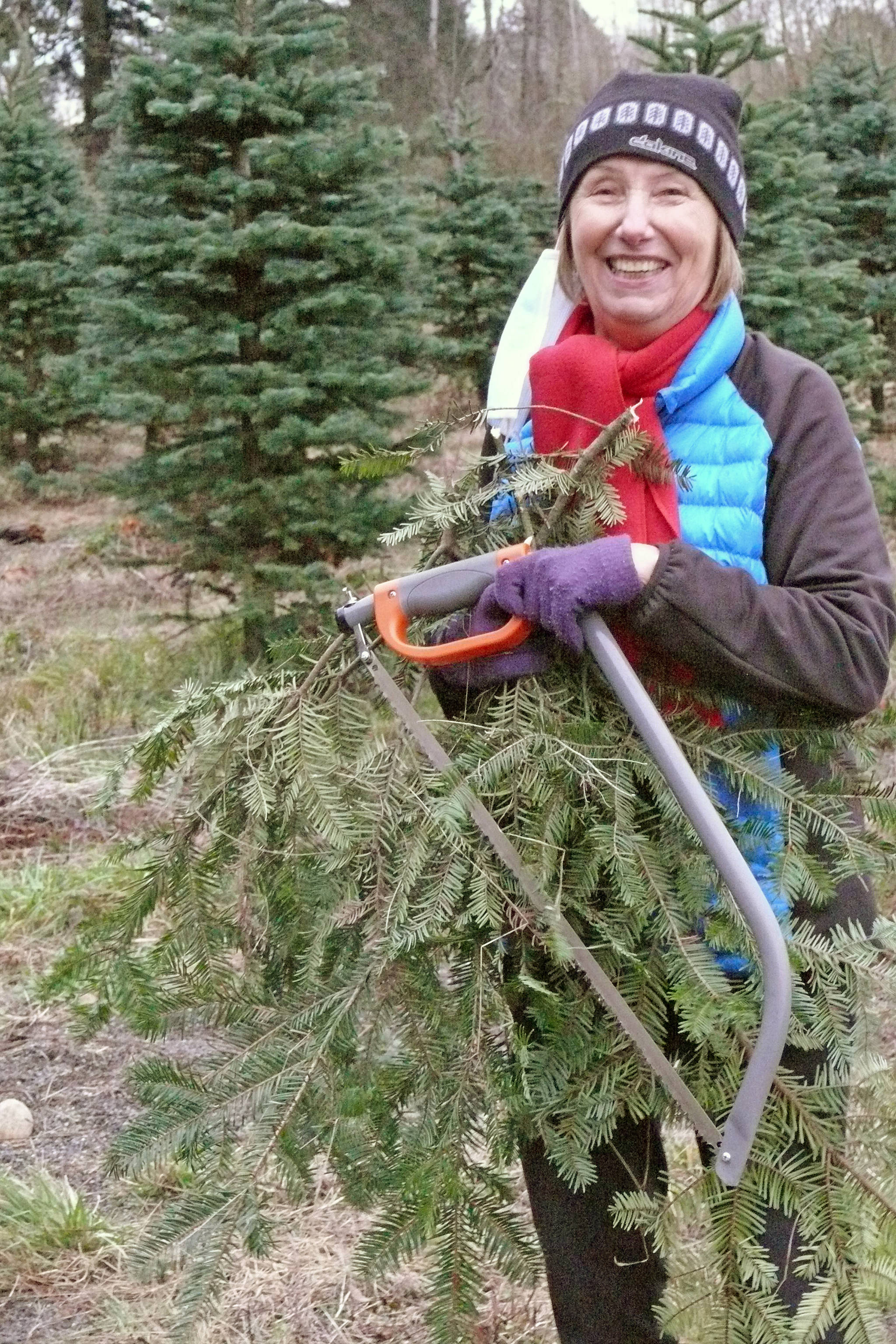 Traude Holmes, a grandmother of three, came all the way from North Vancouver to help her family pick and cut a Christmas Tree at the Tannenbaum Tree Farm at 5398 252 St in Aldergrove on Sunday, Nov. 29, 2020 (Dan Ferguson/Langley Advance Times)