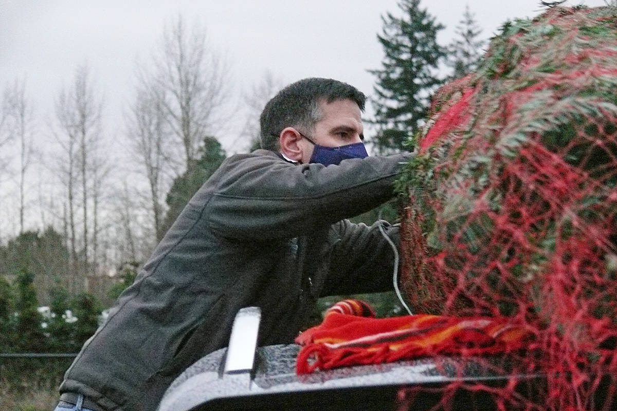 A buyer attached a purchase to the roof of his SUV at the Tannenbaum Tree Farm at 5398 252 St in Aldergrove on Sunday, Nov. 29, 2020 (Dan Ferguson/Langley Advance Times)