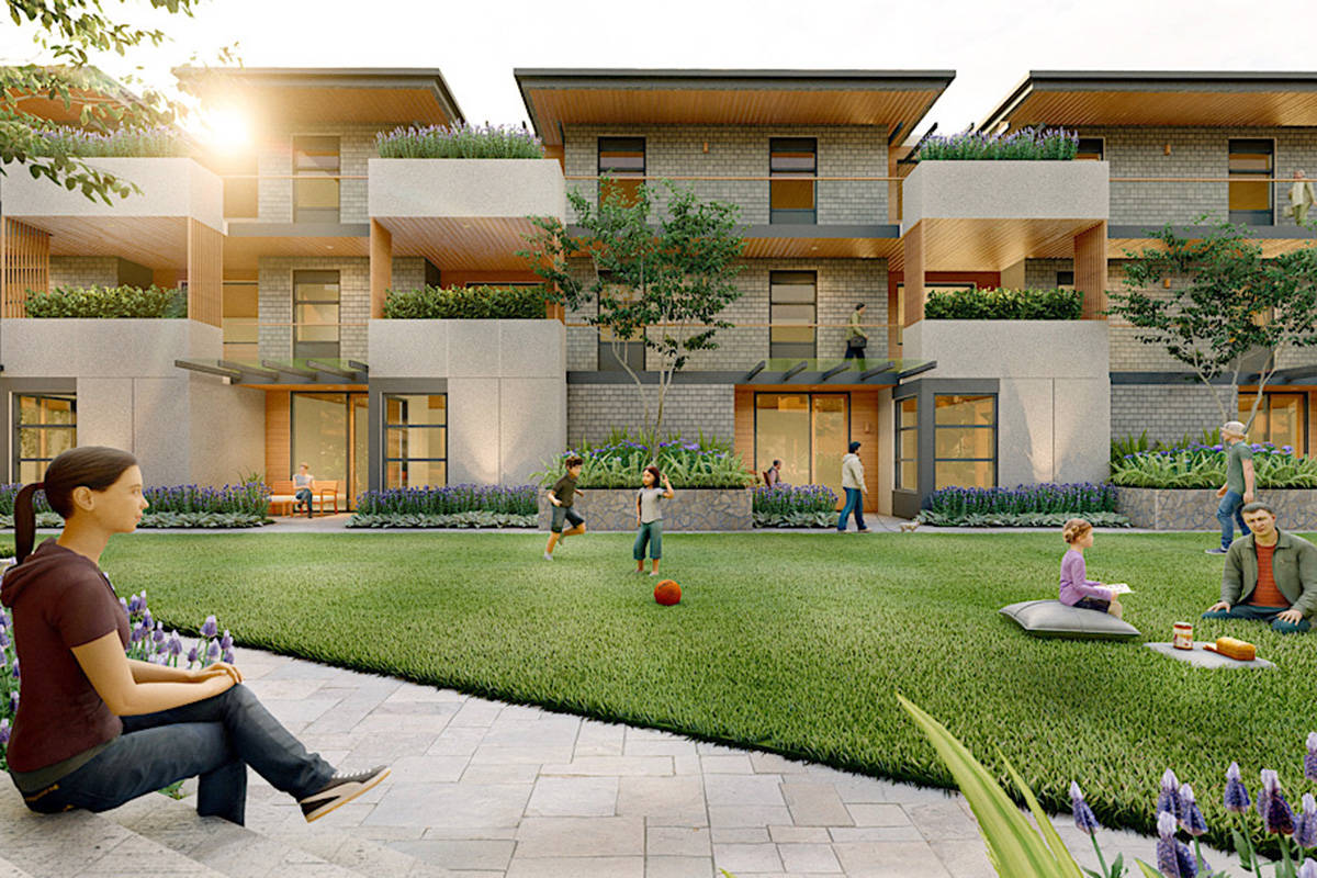Architectural renderings show the proposed housing development on 66th Avenue in Langley Township. (Compass Cohousing/Special to the Langley Advance Times)
