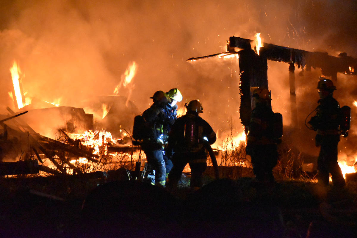 Township firefighters were called to the 25200-block of 16 Ave. in Aldergrove on Monday, Nov. 30, 2020 around 11:30 p.m. after receiving reports of a mobile home fire. (Curtis Kreklau/Special to Langley Advance Times)