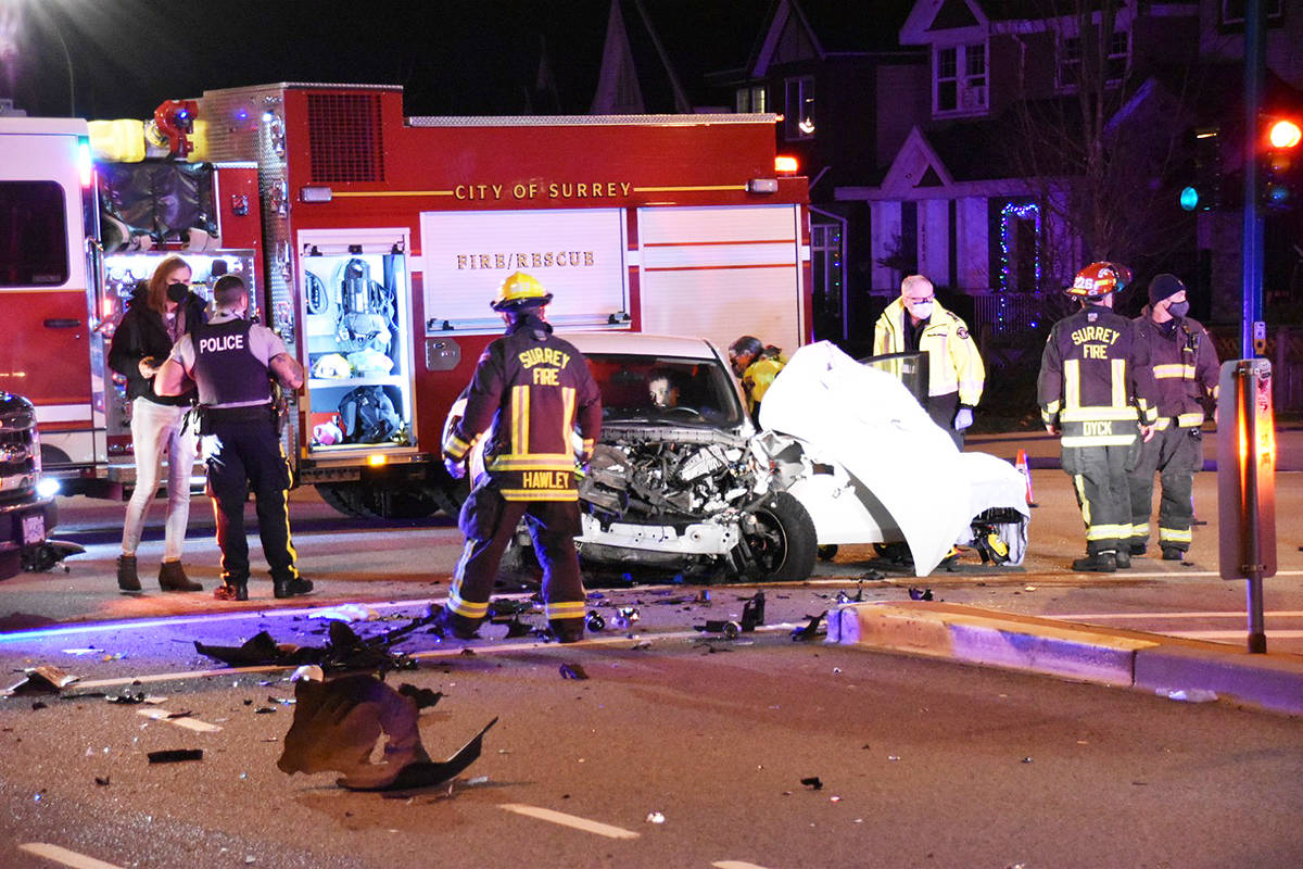 A Surrey RCMP vehicle collided with another vehicle in Clayton Heights Nov. 30. (Photo: Curtis Kreklau)