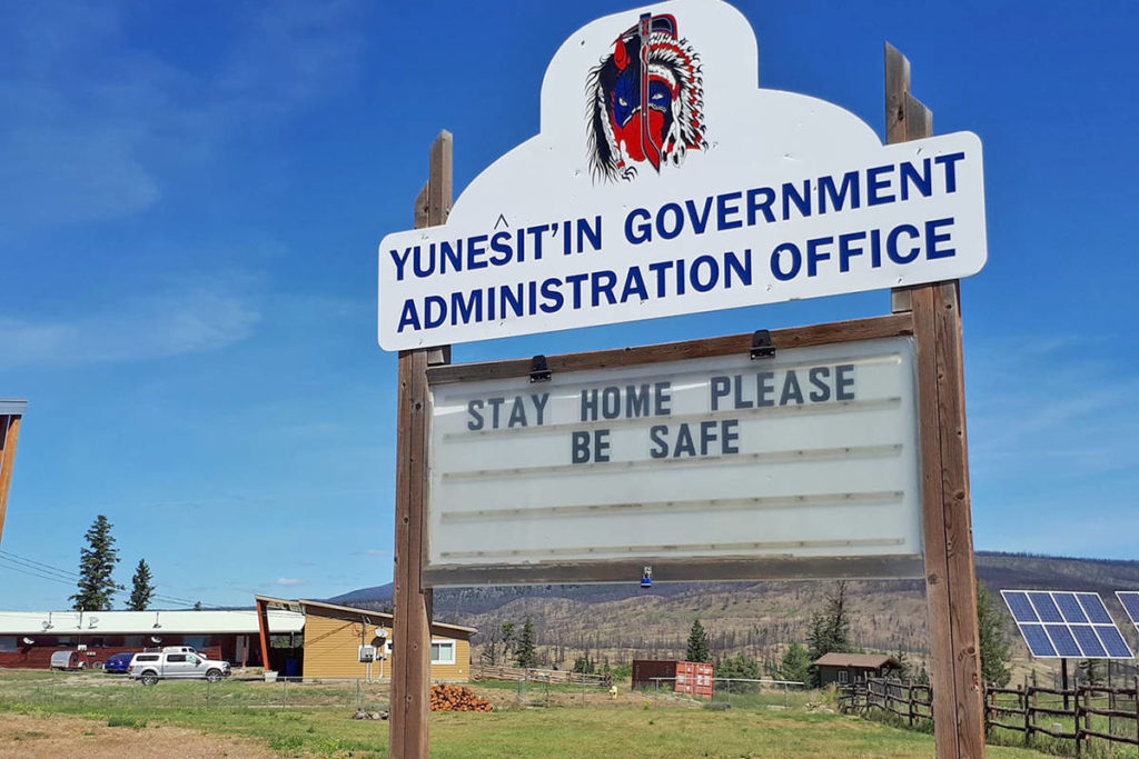 A sign is seen this past summer outside the Yunesit'in Government office west of Williams Lake reminding visitors and members to stay safe amid the COVID-19 pandemic. (Rebecca Dyok photo)