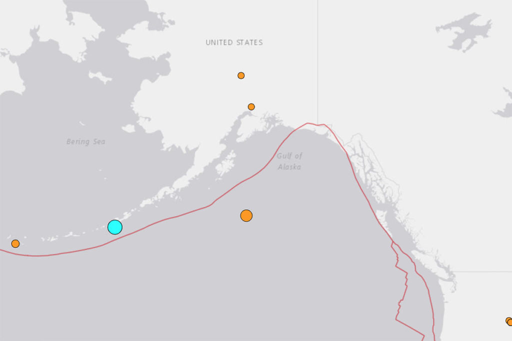 The first of two earthquakes near Alaska on the morning of Tuesday, Dec. 1, 2020, is shown in blue. (USGS)