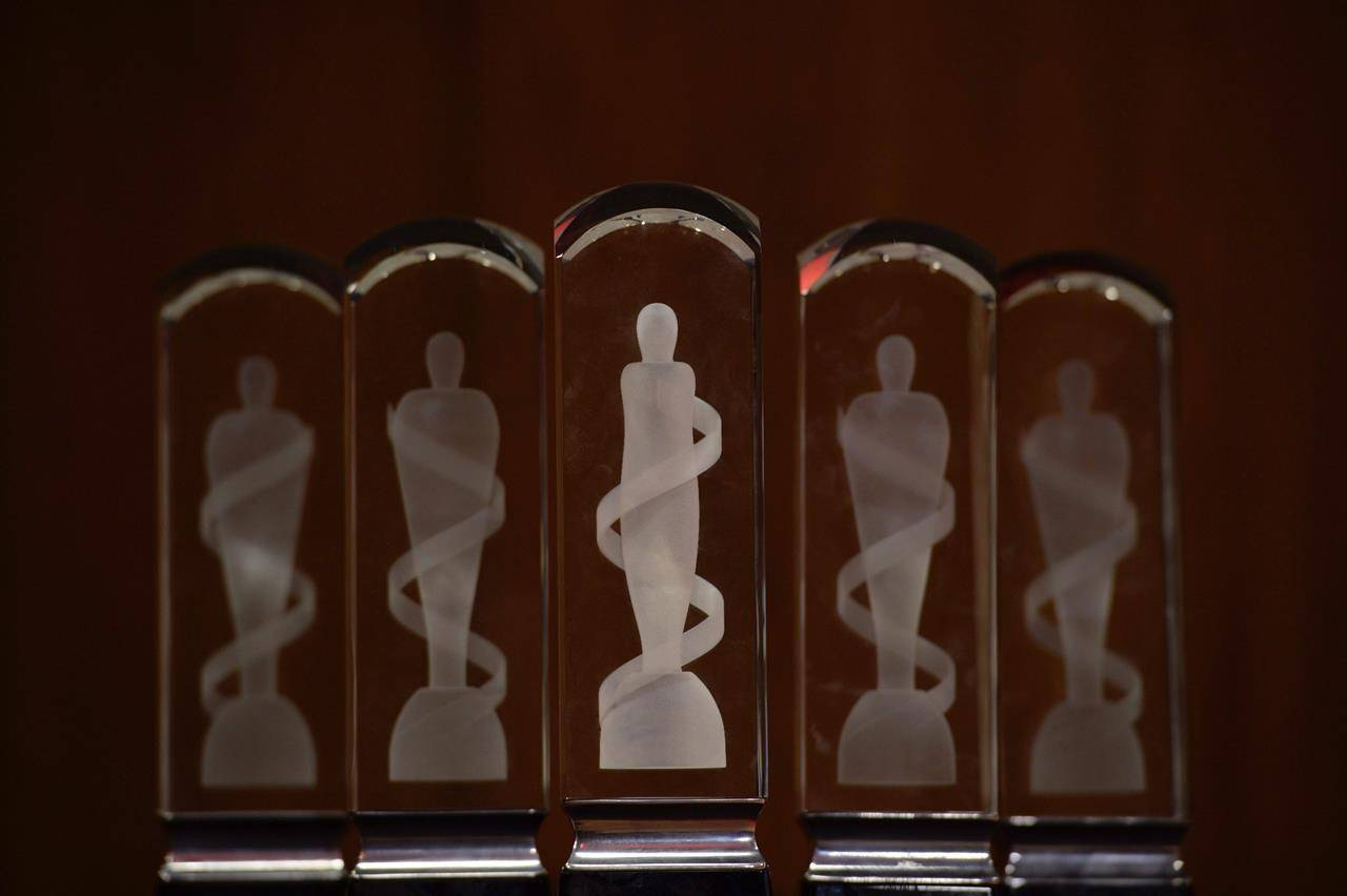 Several Juno award statues sit in the photo room before the awards show, in Ottawa, Sunday, April 2, 2017. THE CANADIAN PRESS/Sean Kilpatrick