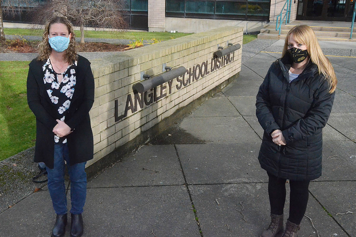 "Mirandy Tracy, left, and Tara Kurtz are two Langley mothers who are organizing a ""sick out"" for Tuesday, Dec. 1 to protest COVID conditions in schools. They're calling for masks and smaller class sizes, among other things. (Matthew Claxton/Langley Advance Times)"