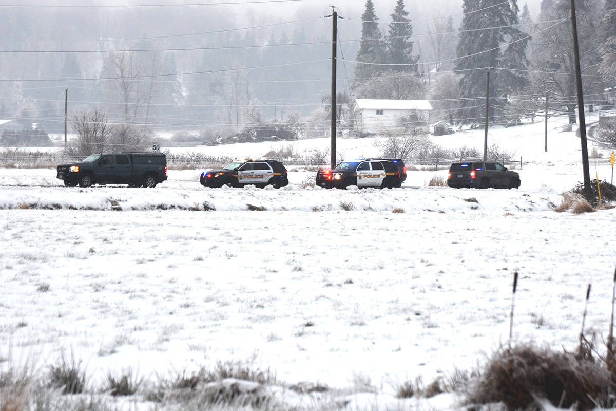 A heavy police presence was on scene on Dec. 28, 2017 following the shooting death on Bates Road in Abbotsford of Alexander Blanarou, 24, of Surrey. (Abbotsford News file photo)