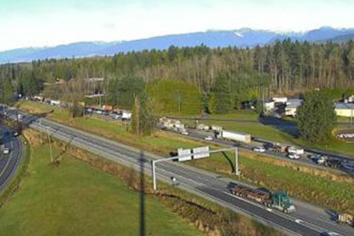 Traffic is backing on the Trans-Canada Highway eastbound at 264th Street in Langley on Dec. 2, 2020. (DriveBC photo)