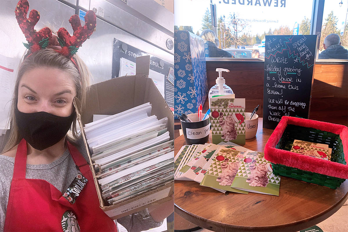Brookswood Starbucks manager Sonja Olsen posed for a photo on Wednesday, Dec. 2, 2020 at the store located at 40th Avenue and 200 Street with some of the many cards for seniors her customers have filled out (Special to Langley Advance Times)
