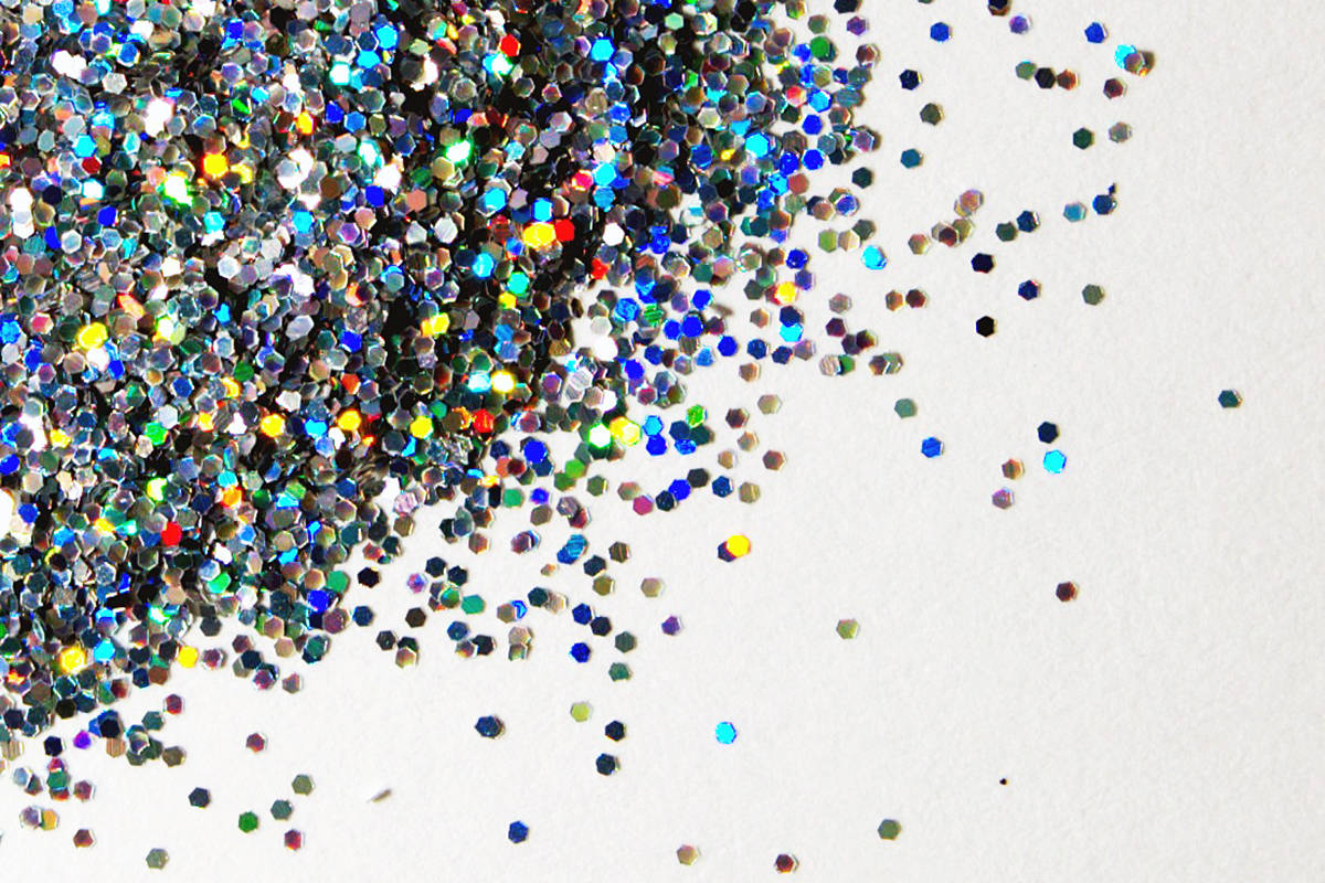 Glitter is a plastic that gets into places it should not and is part of the growing micro-plastics environmental problem. (Wikimedia Commons)