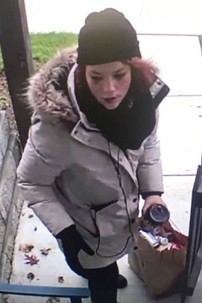 This woman allegedly stole a package off a porch. (Langley RCMP/Special to the Langley Advance Times)