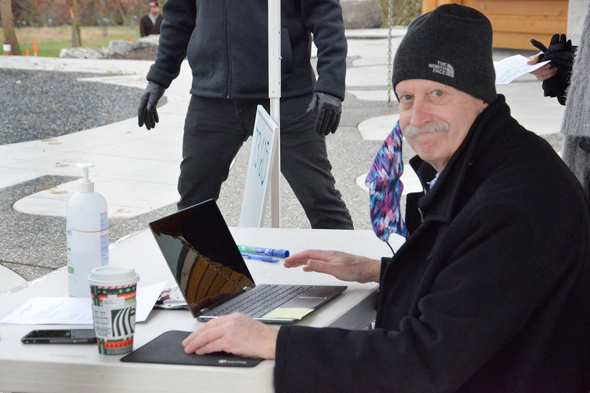 Jeff Morfitt, chair of the draw committee, oversaw the prize draw which used a government approved random number generator to select the winner on Thursday, Dec. 3, 2020. (Heather Colpitts/Langley Advance Times)