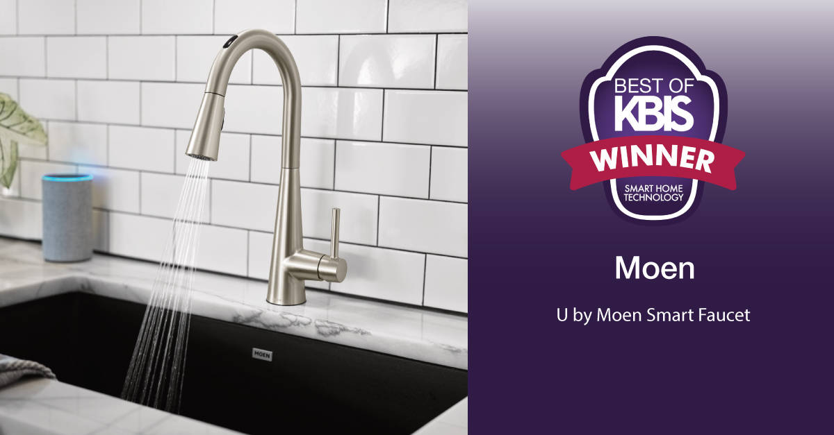 With numerous awards to its credit, accolades for the U by Moen Smart Faucet include the 2020 Best of KBIS Award, highlighting the most innovative new products in the kitchen and bath industry, and Good Housekeeping's editor's pick from the Consumer Electronics Show, recognizing the coolest products that experts think are useful for consumers.