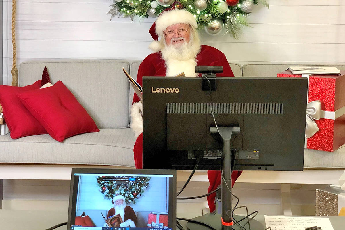 Santa is busy at Willowbrook Shopping Centre with five-minute Zoom meetings with children. All the slots are booked up through the holidays. (Willowbrook Shopping Centre/Special to the Langley Advance Times)