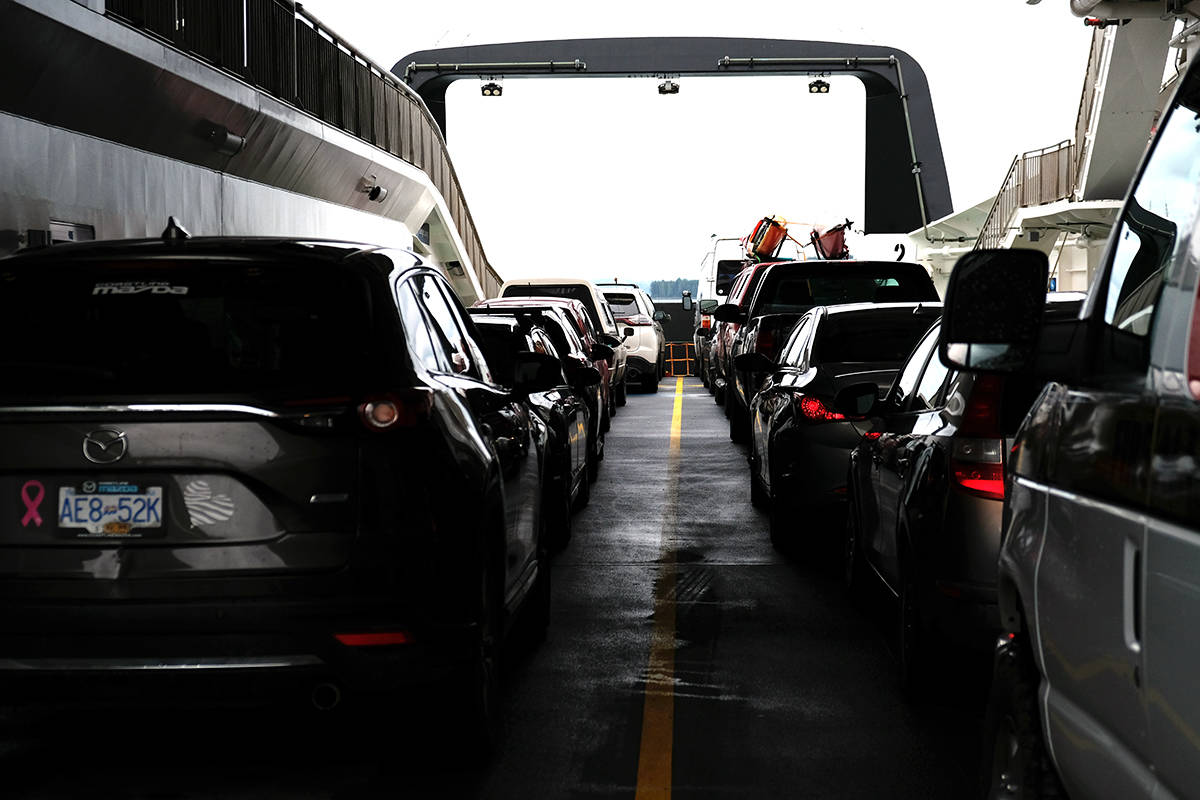 Vehicle passengers on closed decks are not allowed to stay in their cars, according to Transport Canada. Open decks such as the one pictured, are not under the same restriction. (Zoe Ducklow photo)