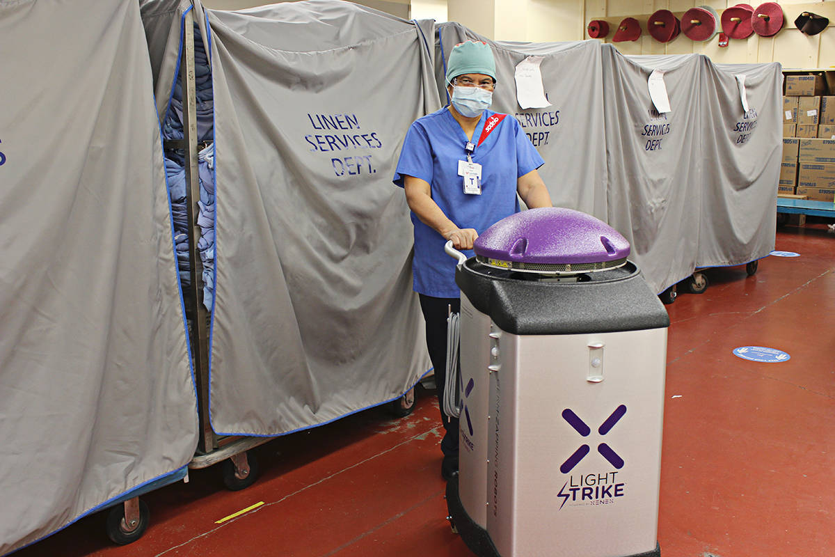 A Langley Memorial Hospital technician started using the Light Strike ultraviolet germicial robot on Monday, Dec. 7, 2020. (Langley Memorial Hospital Foundation/Special to the Langley Advance Times)