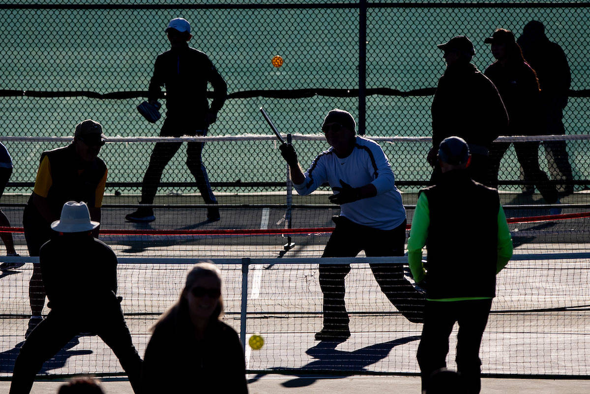 Pickleball game in Vancouver on Sunday, November 8, 2020. B.C.'s public health restrictions for COVID-19 have been extended to adult team sports, indoors and outside. THE CANADIAN PRESS/Darryl Dyck
