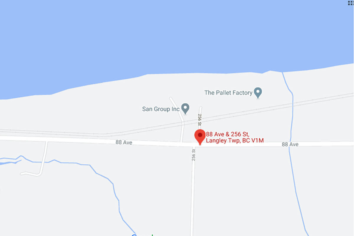 A semi truck hauling lumber and a train collided on the tracks near the intersection of 256 Street and 88 Avenue on Friday, Dec. 4, 2020 around 3 p.m. (Google map)