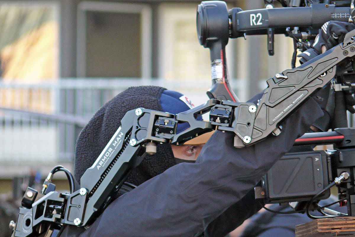 "A camera operator wears his gear as he gets a shot for ""Lethal Lesson,"" a thriller shooting in Langley City on Nov. 25, 2020. (Dan Ferguson/Langley Advance Times)"