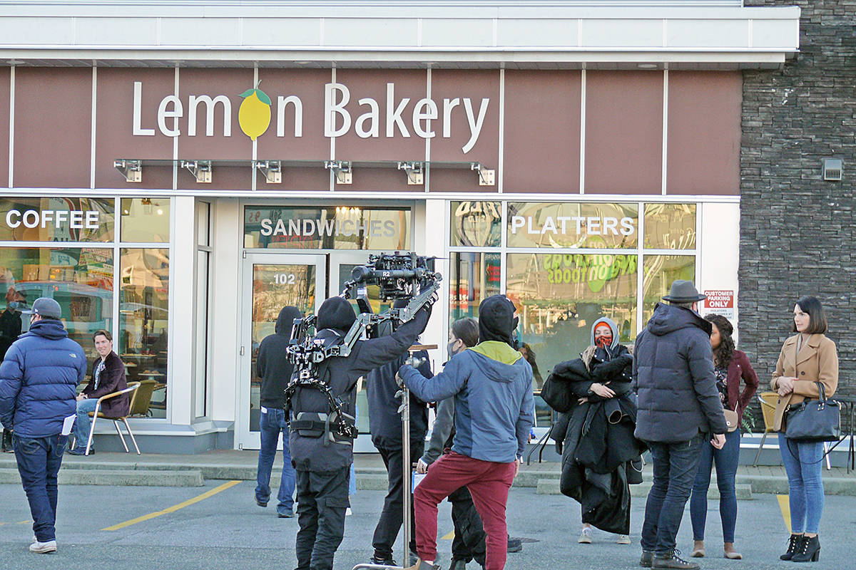 "Crew member spread out during a scene for ""Lethal Lesson,"" a thriller shooting in Langley City at the Lemon Bakery on Nov. 25, 2020. (Dan Ferguson/Langley Advance Times)"