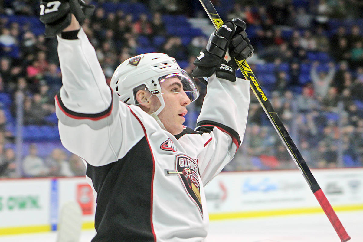 Trevor Longo celebrated a real-world goal against Victoria Royals on Feb. 28 at Langley Events Centre. Now, he has a virtual hockey victory to his credit, part of the Memorial eCup presented by Kia that pits players from 60 junior hockey clubs against each other, online (Rob Wilton/special to Langley Advance Times)
