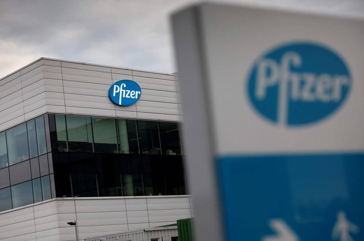 FILE - In this Nov. 9, 2020, file photo, a general view of Pfizer Manufacturing Belgium in Puurs, Belgium. (AP Photo/Virginia Mayo, File)