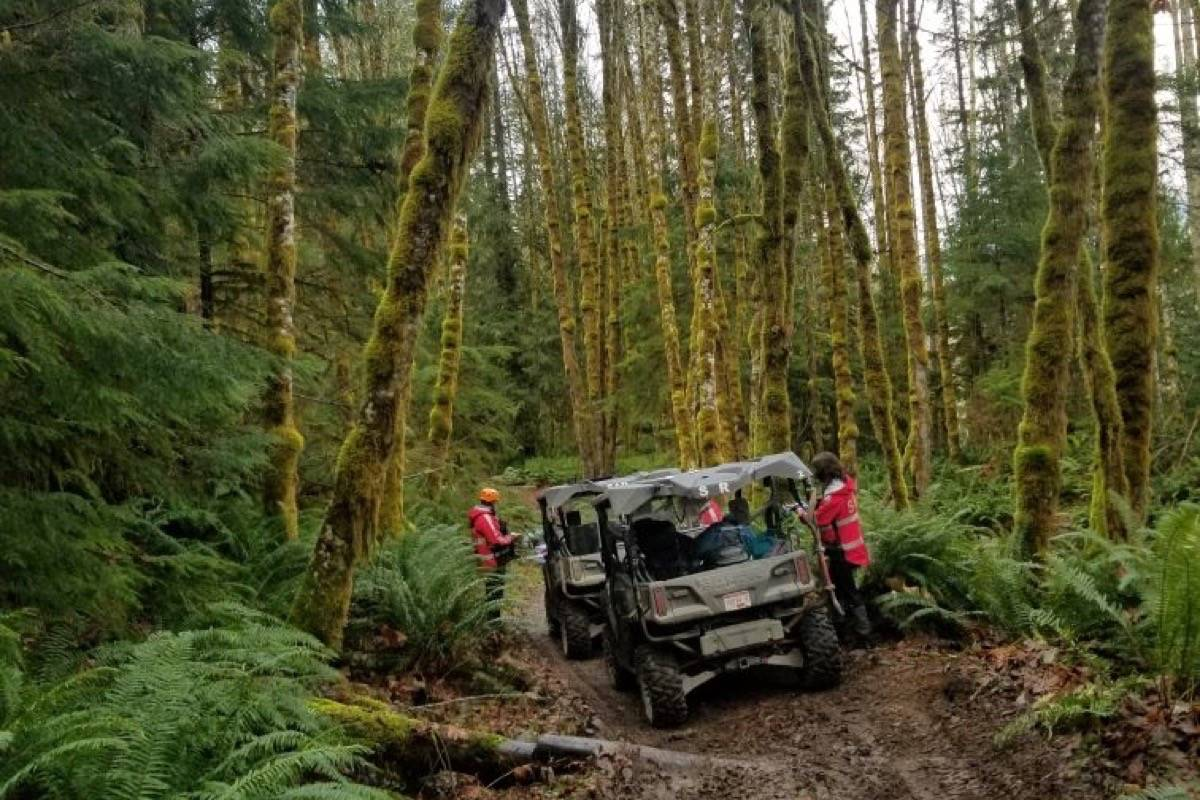Rescuers from Cowichan Search and Rescue used ATV's to help search for a man found stuck on a logging road near Skutz Falls last weekend. (Submitted photo)