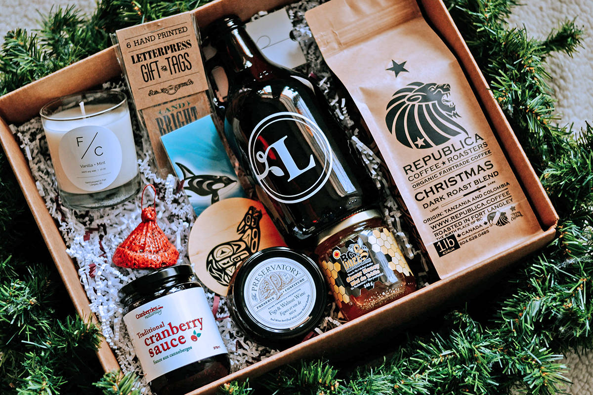 A box stuffed with goodies that supports local businesses and also helps charity is being offered by Tourism Langley, which annoumnced the offer on Dec. 3, 2020 (Special to Langley Advance Times)