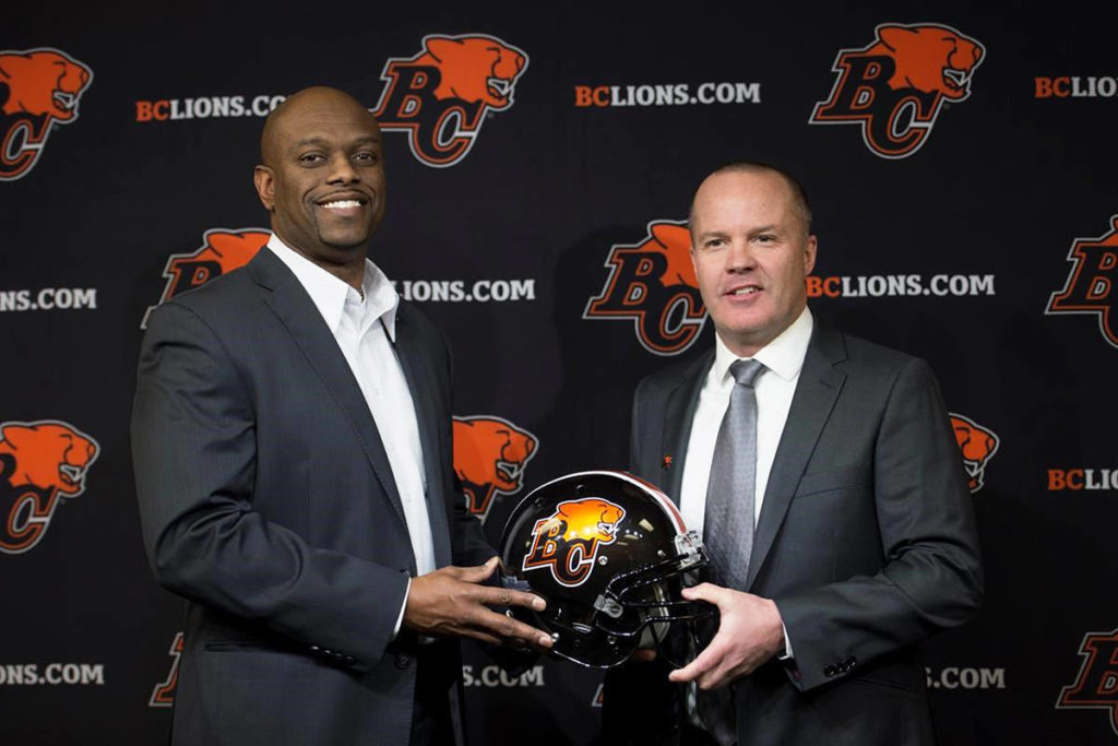 B.C. Lions general manager Ed Hervey, left, introduces Rick Campbell during a news conference at the team's training facility in Surrey, B.C., Monday, Dec. 2, 2019. Campbell and football-operations director Neil McEvoy will be taking over as co-GM's from Hervey, who stepped down from the post in October. THE CANADIAN PRESS/Jonathan Hayward