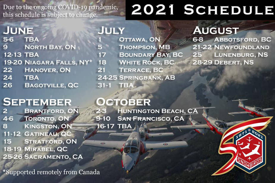 The tentative 2021 Snowbirds' schedule. Canadian Forces photo