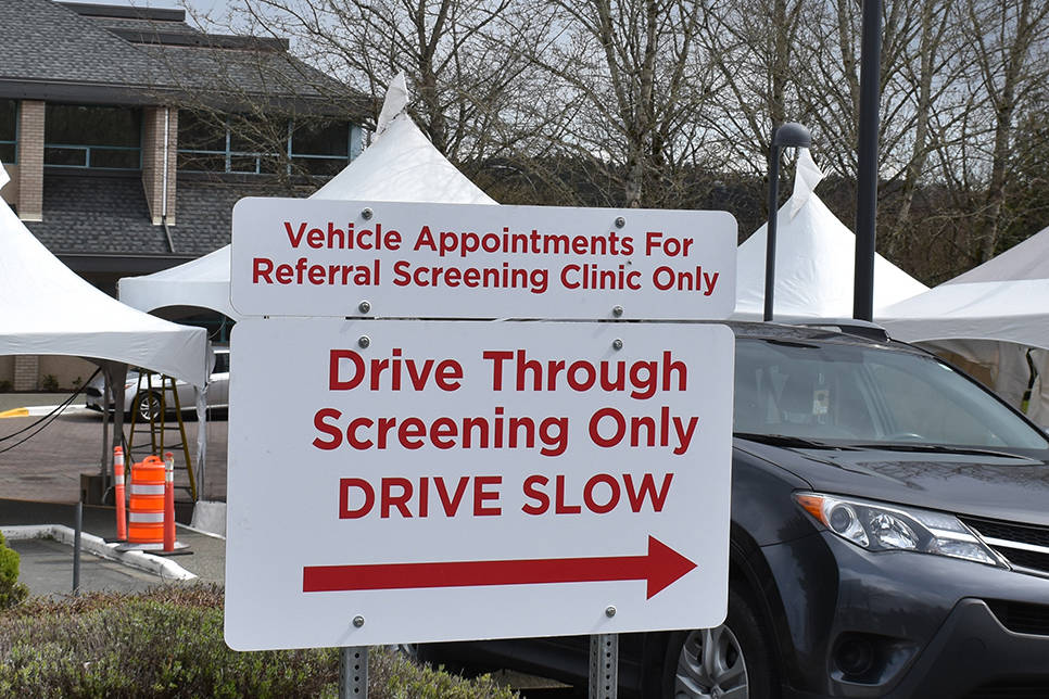 The drive-through COVID-19 testing facility at the Saanich Peninsula Hospital set up earlier this week has started testing. (Black Press Media File)