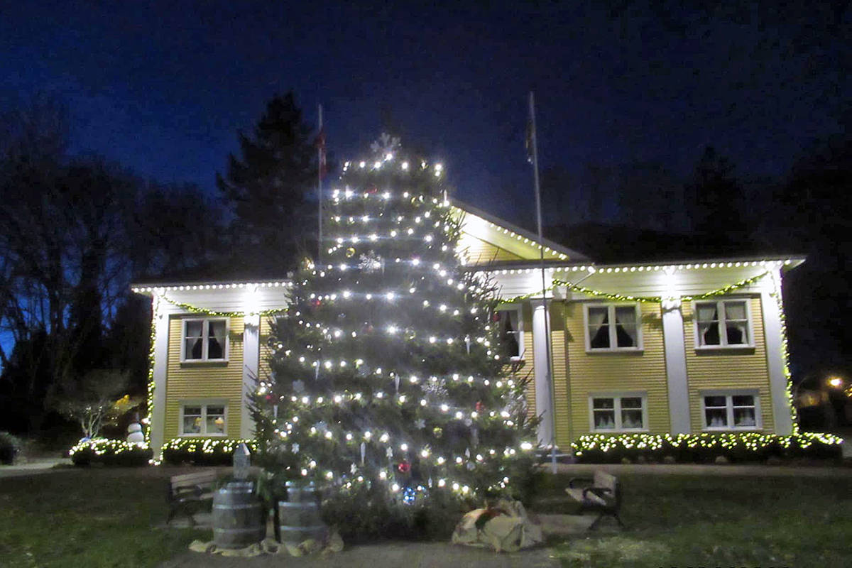 On Friday, Dec. 4, the Fort Langley Christmas tree lights were turned on, without a crowd. (special to Langley Advance Times)