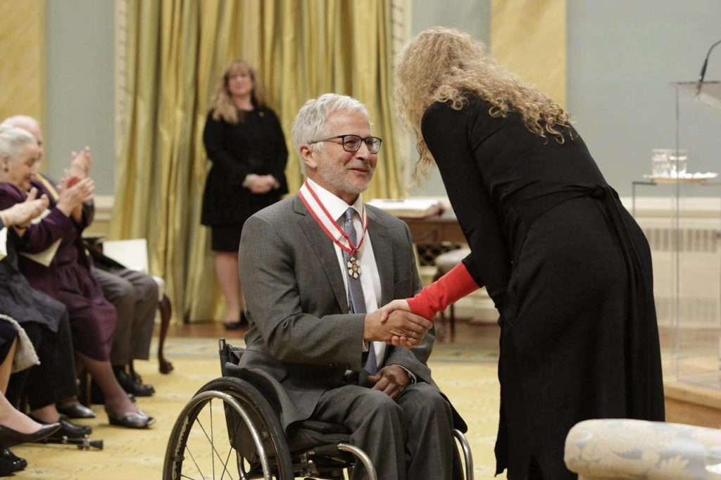 Gov.-Gen. Julie Payette invests Joseph Arvay as an Officer of the Order of Canada during a ceremony at Rideau Hall on May 10, 2018 in Ottawa. British Columbia's attorney general paid tribute Tuesday in the legislature to Arvay, saying he reformed Canada's legal landscape and fought for the rights of all Canadians throughout his lifetime. David Eby said the death of Arvay, 71, will leave an indelible mark and a gap that will not be filled. THE CANADIAN PRESS/David Kawai