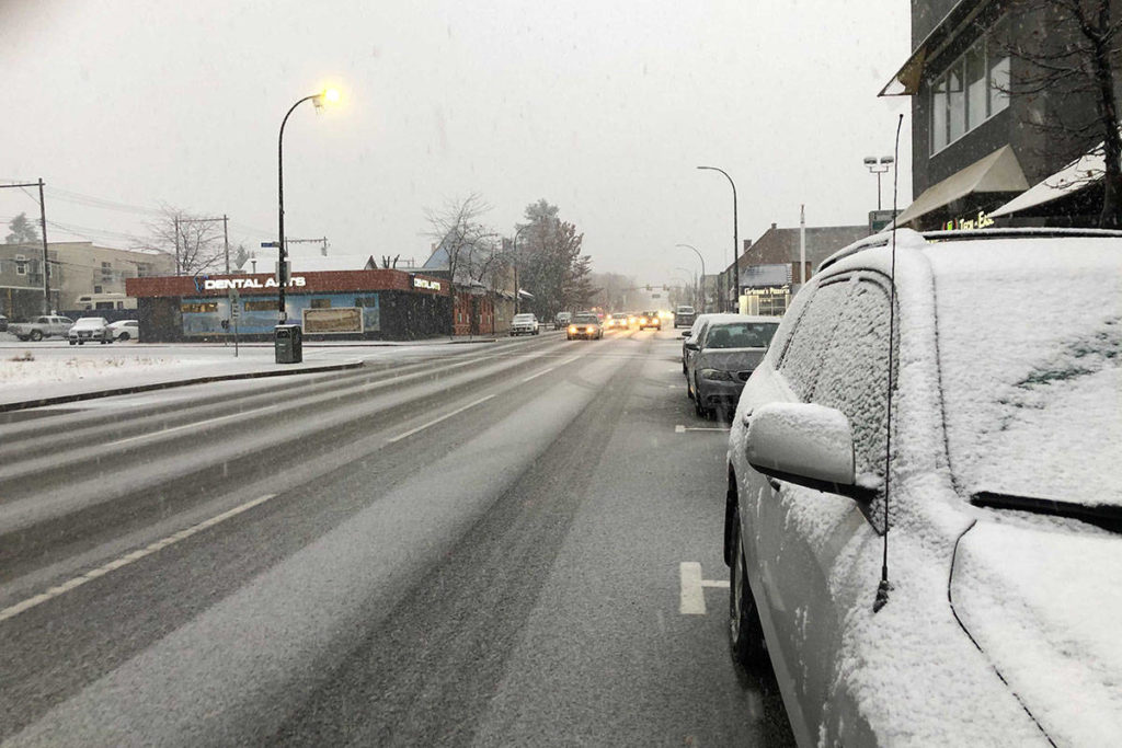 Wet snow made for slippery driving conditions on Nov. 16, 2020. (File photo)