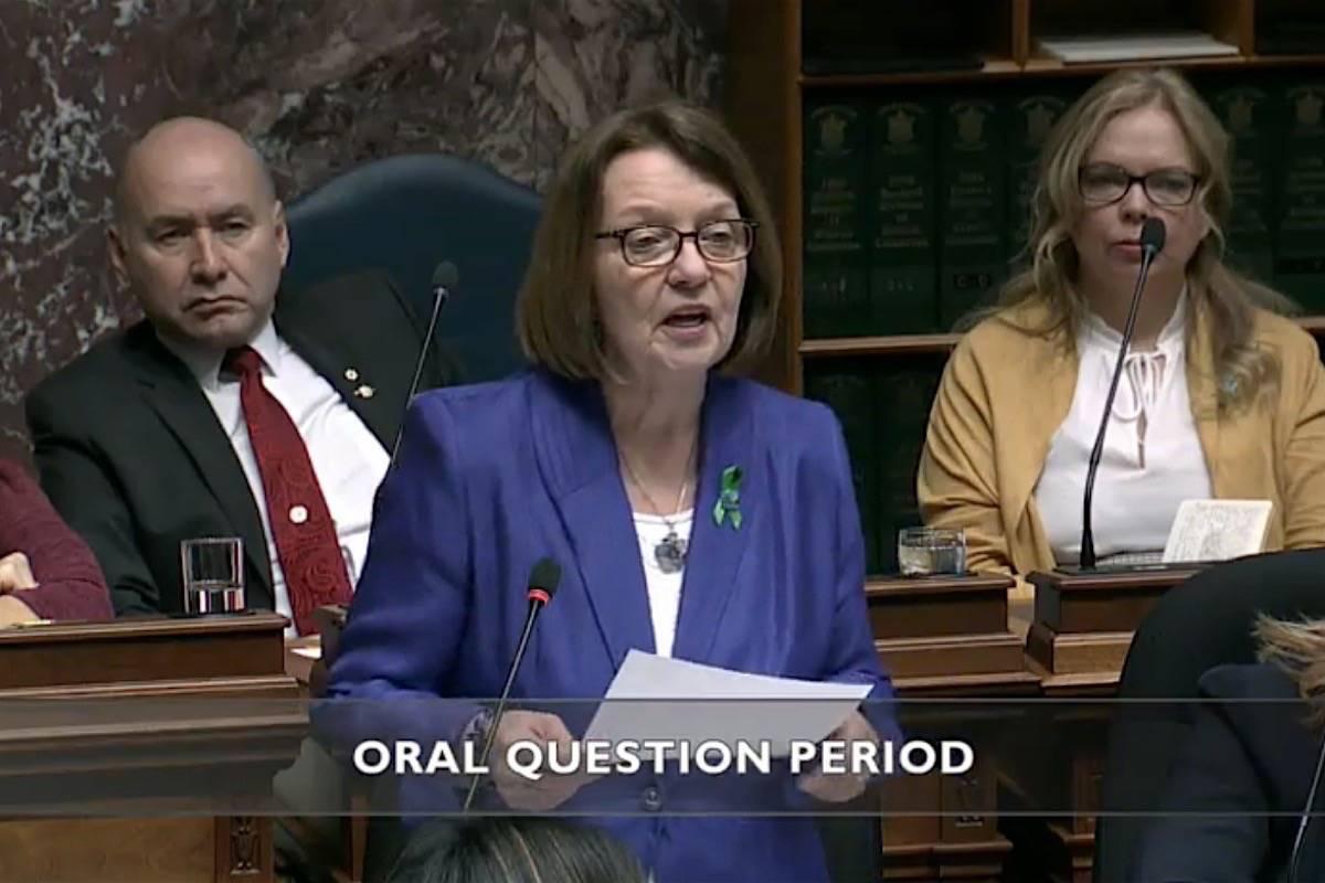 Interim B.C. Liberal leader Shirley Bond questions the NDP government in the legislature, Feb. 19, 2020. (Hansard TV)