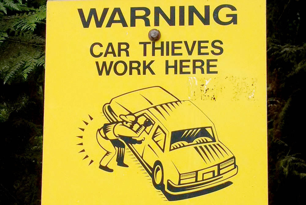 Signs are posted and RCMP officers are on the lookout for car thieves, but police say the public has a role to play in preventing theft. (Submitted photo)