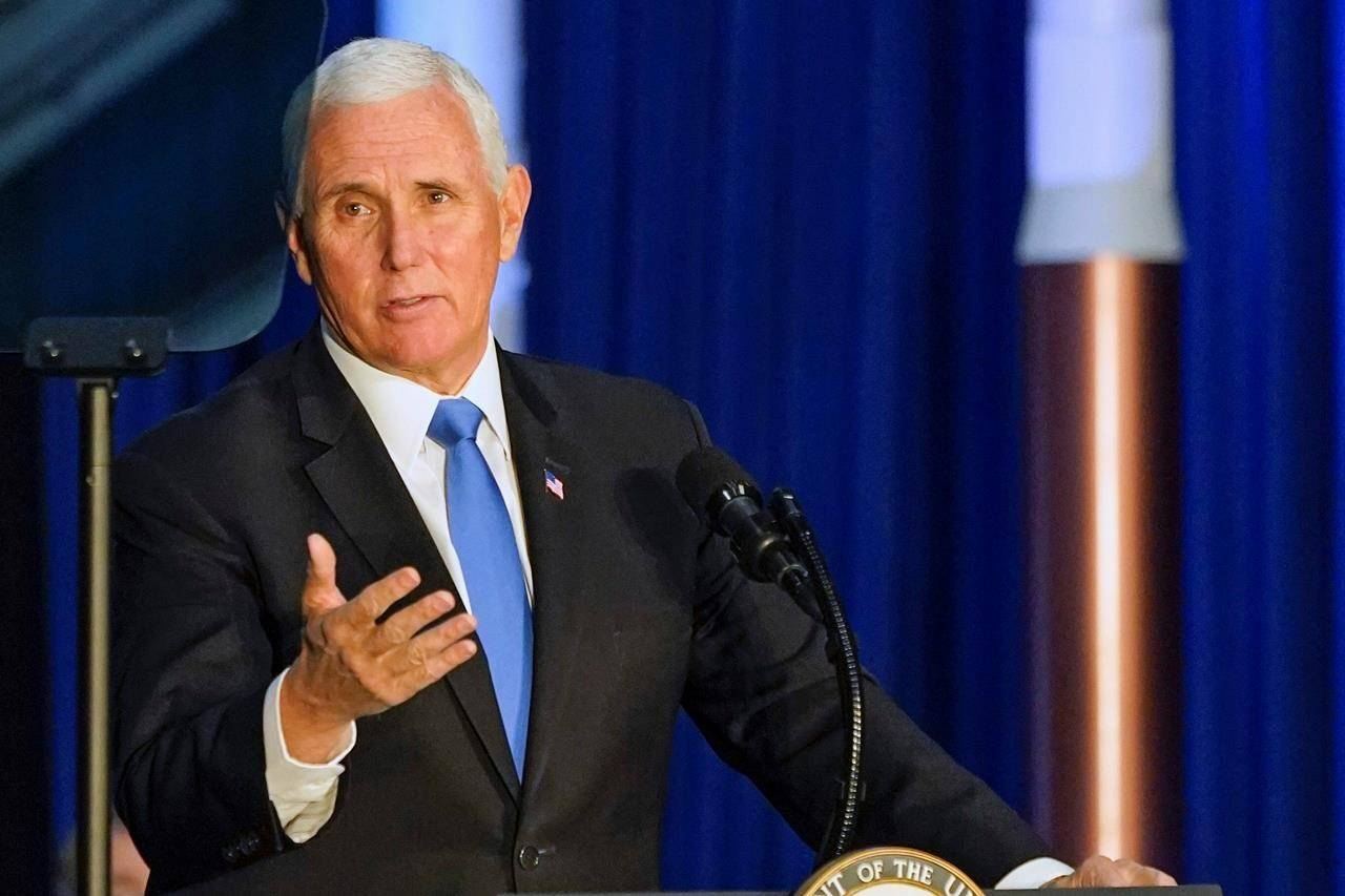 Vice President Mike Pence speaks during the eighth meeting of the National Space Council at the Kennedy Space Center Wednesday, Dec. 9, 2020, in Cape Canaveral , Fla. (AP Photo/John Raoux)