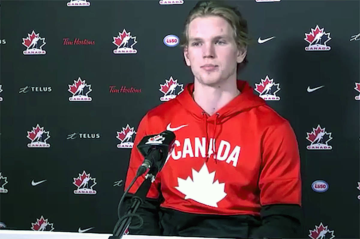 Former Vancouver Giants defenceman Bowen Byram fielded questions during an online video appearance at Team Canada training camp (WHL TV)